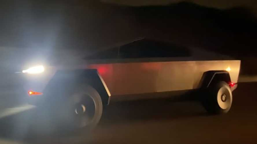 New Video Captures Tesla Cybertruck At Speed At Night On Expressway