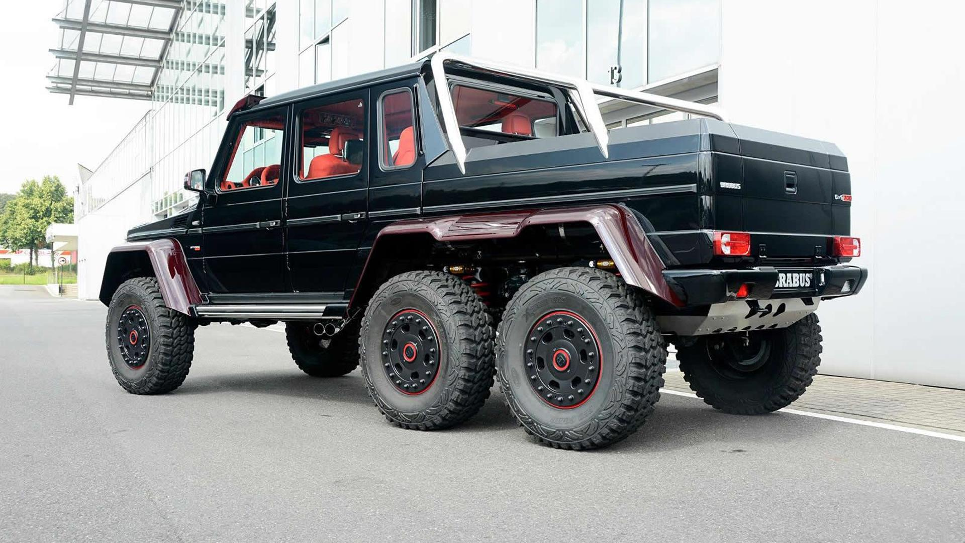 Brabus Makes Mercedes Benz G63 Amg 6x6 Even More Outlandish With Red Carbon Motor1 Com Photos