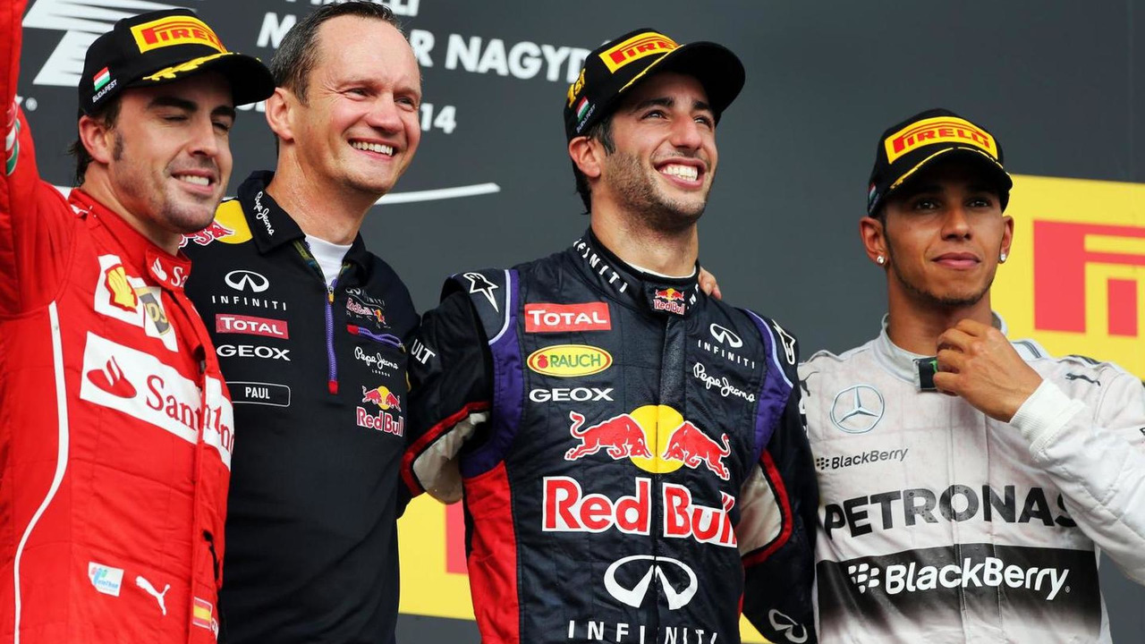 The podium (L to R): Fernando Alonso (ESP), second, Paul Monaghan (GBR) Red Bull Racing Chief Engineer, Daniel Ricciardo (AUS) Red Bull Racing, race winner, Lewis Hamilton (GBR) Mercedes AMG F1, third, 27.07.2014, Hungarian Grand Prix, Budapest / XPB