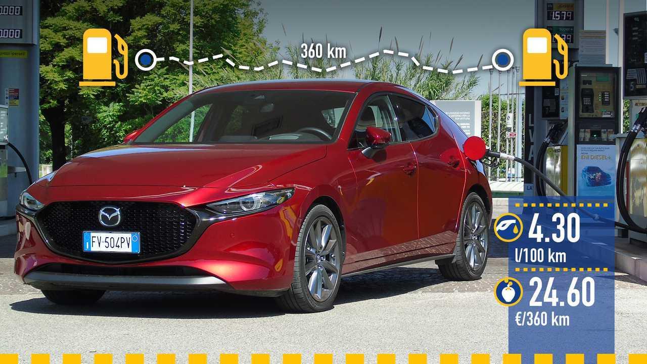 Mazda 3 Hybrid, la prova consumi