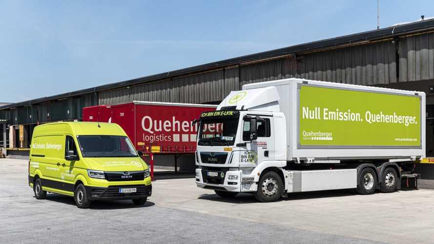 La flotta green di Quehenberger Logistics. Furgoni e camion elettrici MAN