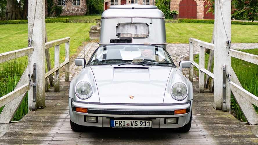 Porsche 911 Speedster tows camper