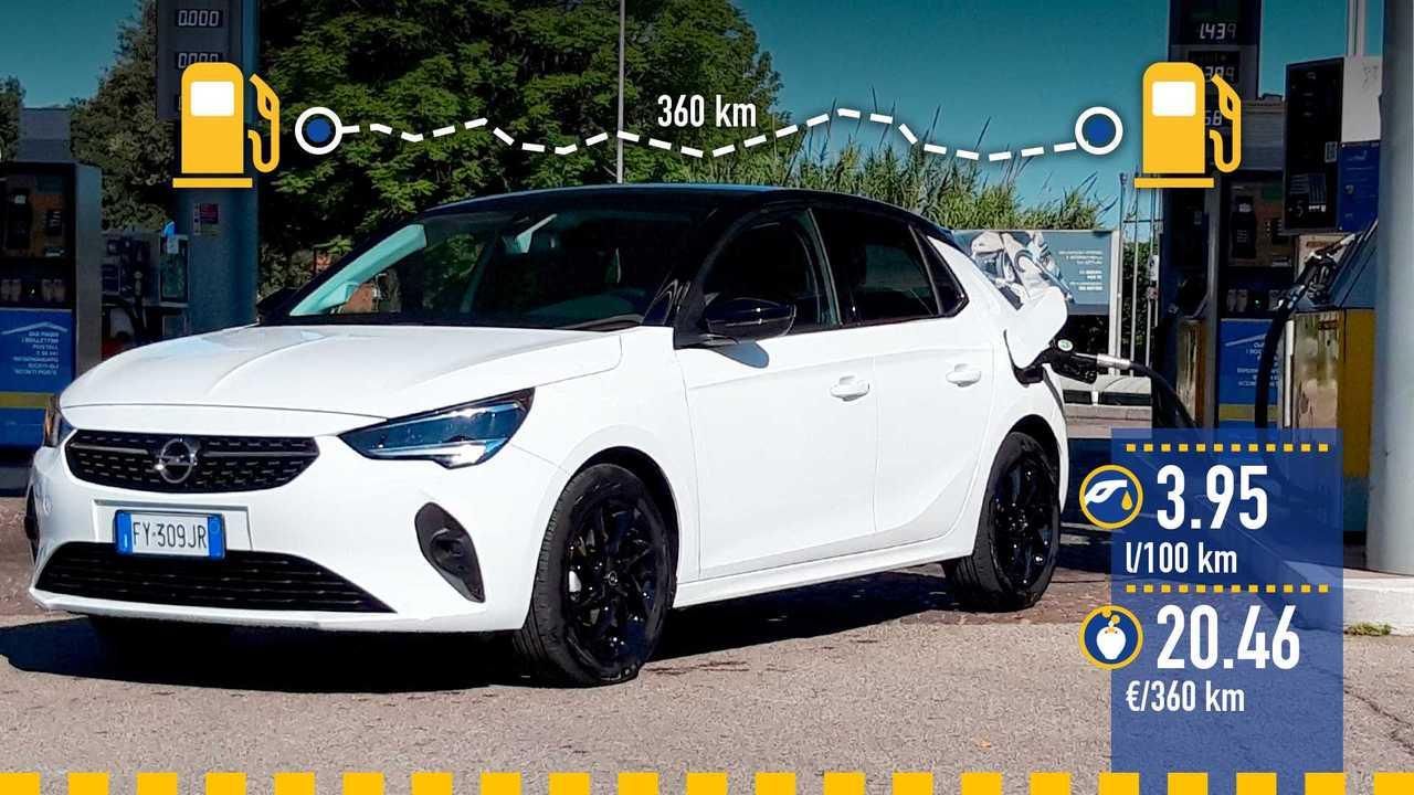 Opel Corsa 1.2 benzina, la prova consumi