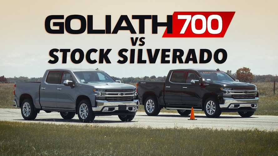 Hennessey Goliath 700 Faces Stock Chevy Silverado In A Drag Race