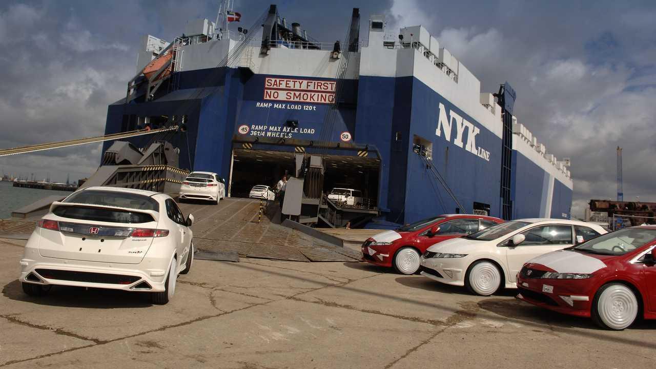 UK-built Civic Type R models being loaded at docks