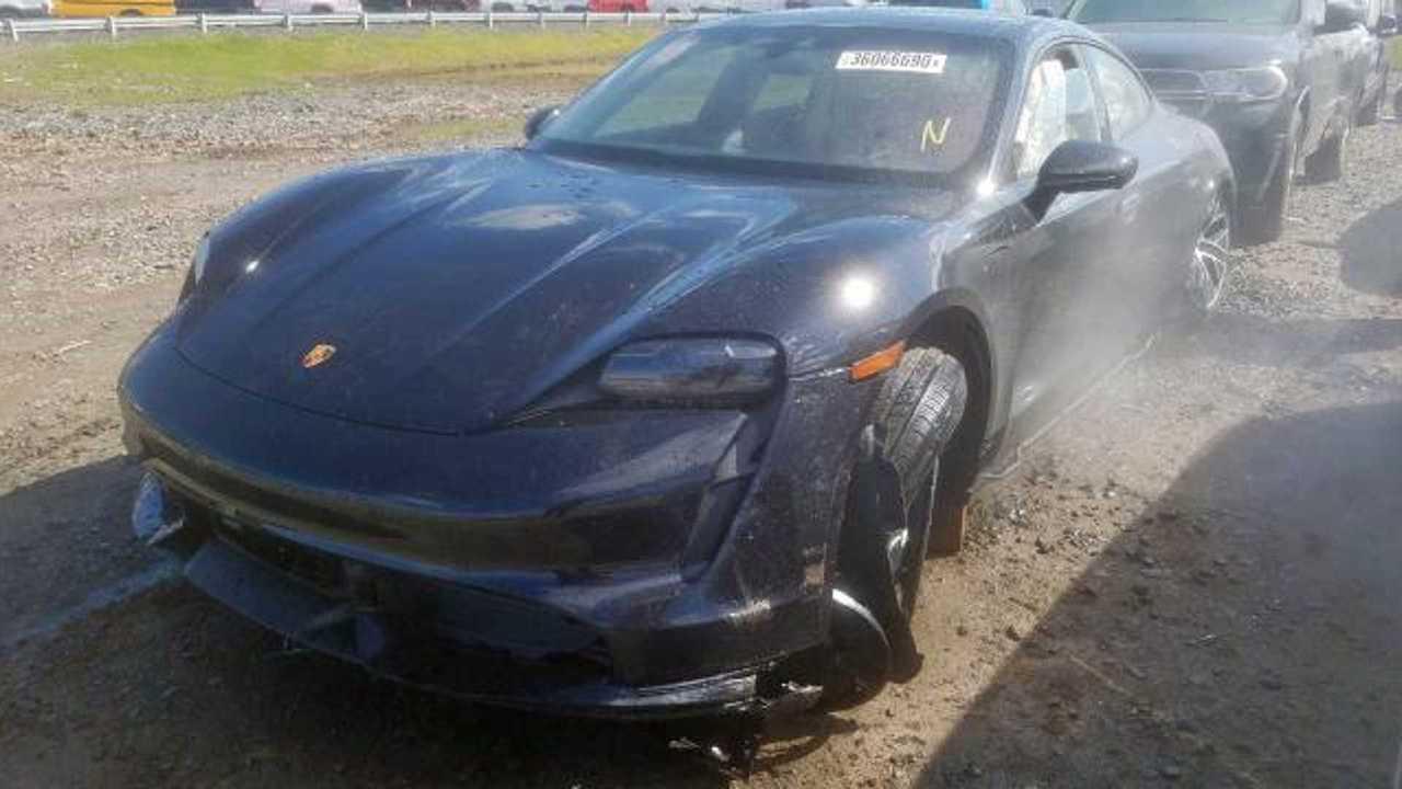 Wrecked Porsche Taycan Turbo