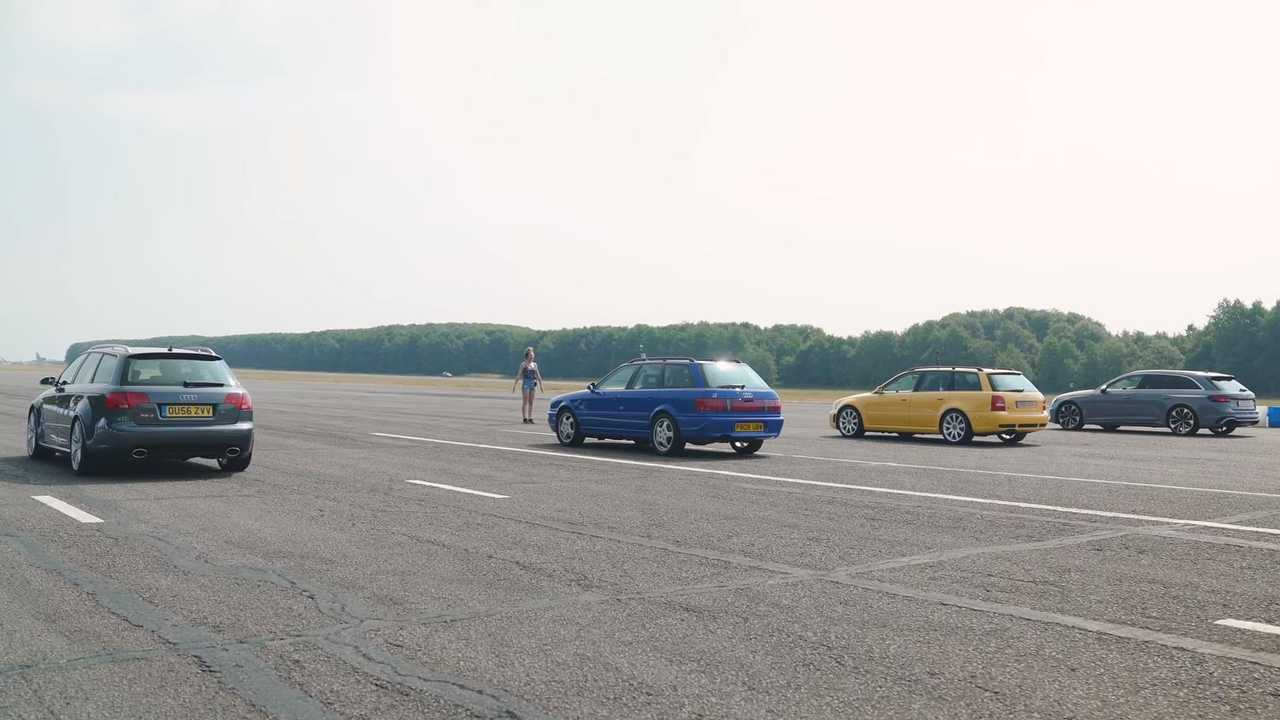 Four generations of the Audi RS4 meet for a family drag race