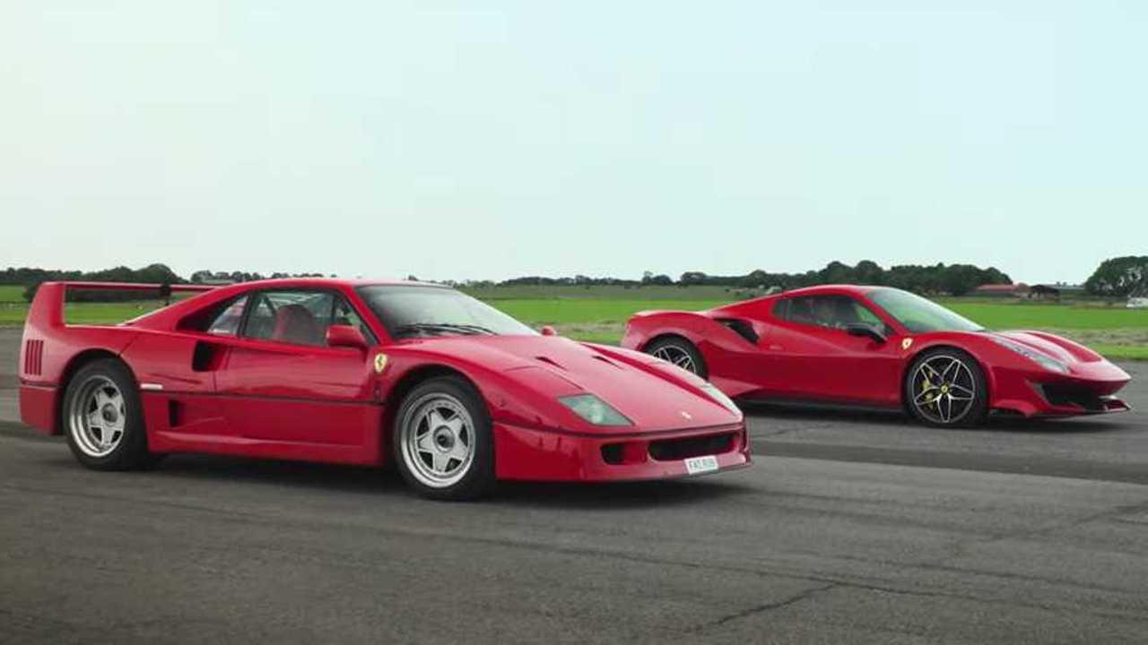 Ferrari F40 vs 488 Pista Spider Drag Race Lead