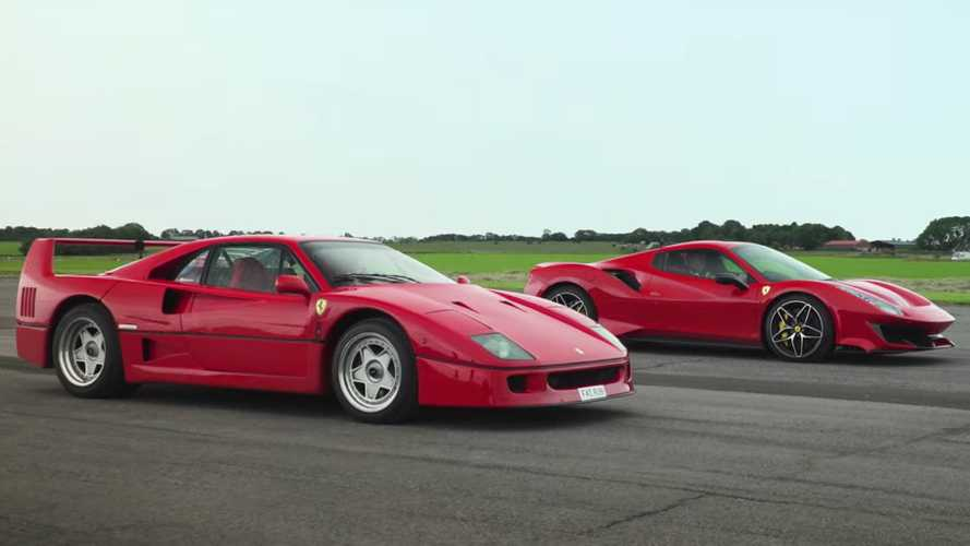 Watch Tiff Needell drag race the Ferrari F40 against a 488 Pista