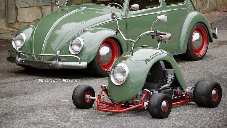 This go-kart fashioned from a Volkswagen Beetle wing is cute