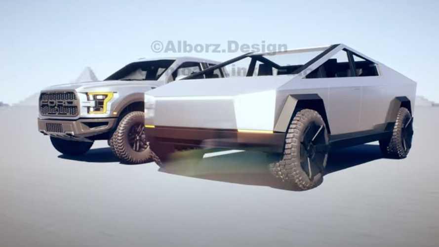 Tesla Cybertruck ve Ford F-150 Raptor, dijital ortamda buluştu