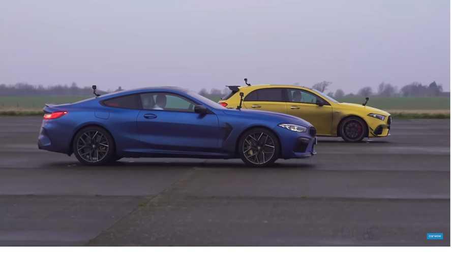 VIDÉO - La Mercedes-AMG A 45 S tente de rivaliser face à la BMW M8 Competition