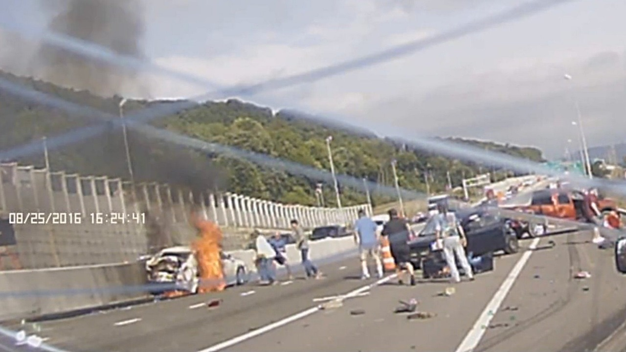 Binghamton pile-up - woman rescued from burning car