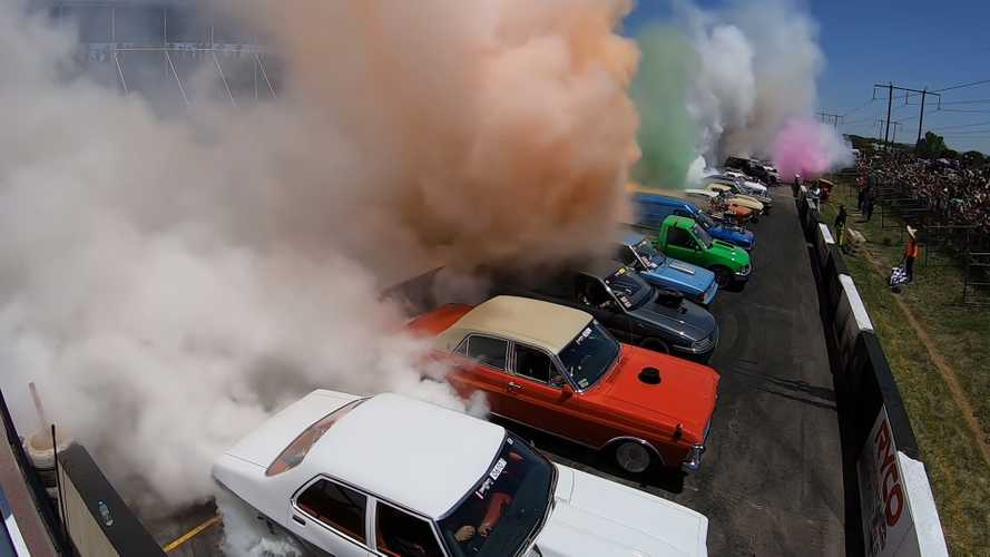 Watch 126 cars rip a massive record-setting burnout