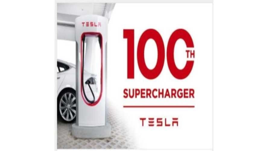 Tesla Supercharger #100 Now Open