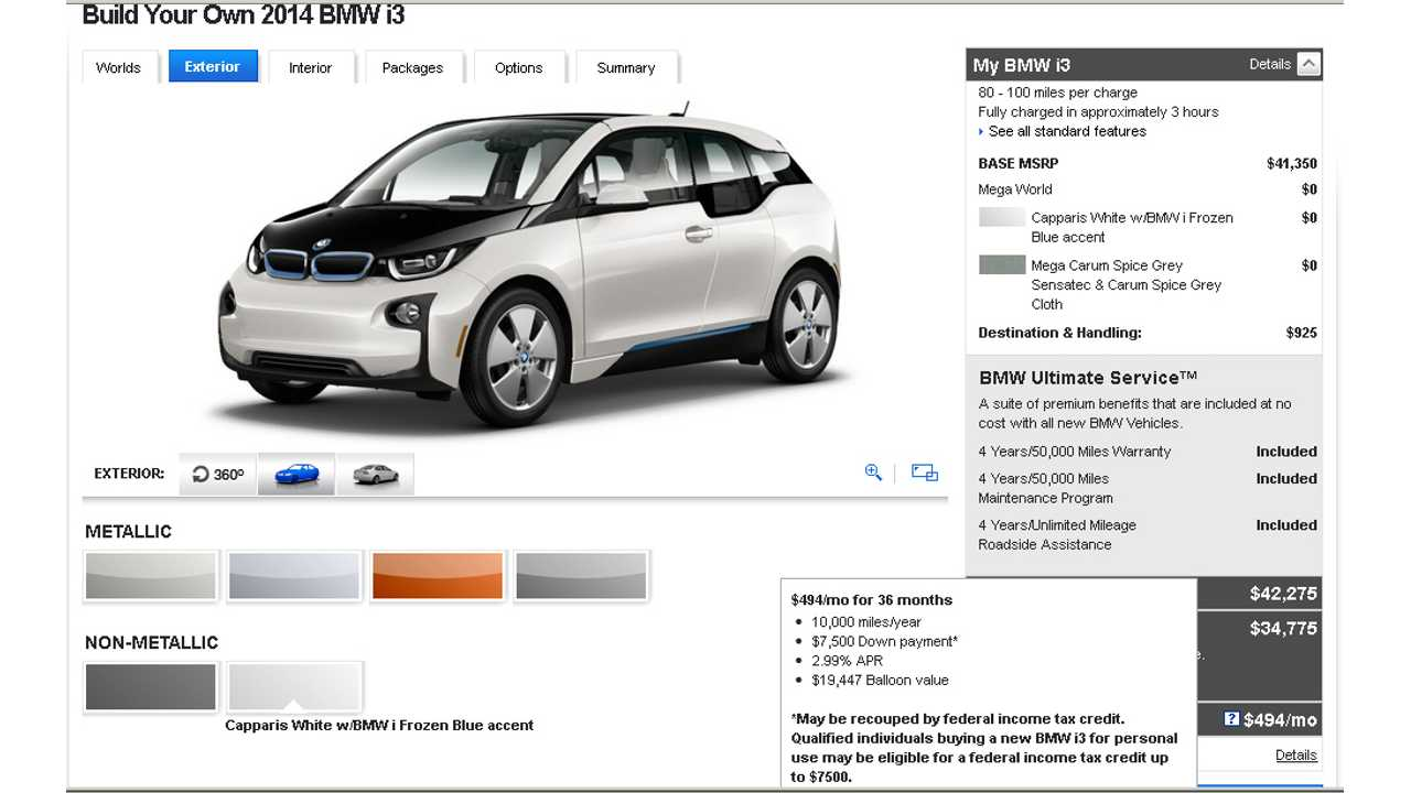 BMW i3 Bottom Line: $494 Per Month With *$0 Down