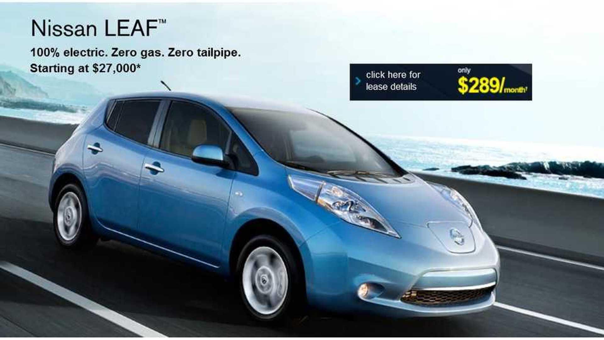 Nissan Leaf Lease >> Nissan Slashes Lease Rate On Leaf Now 289 Per Month