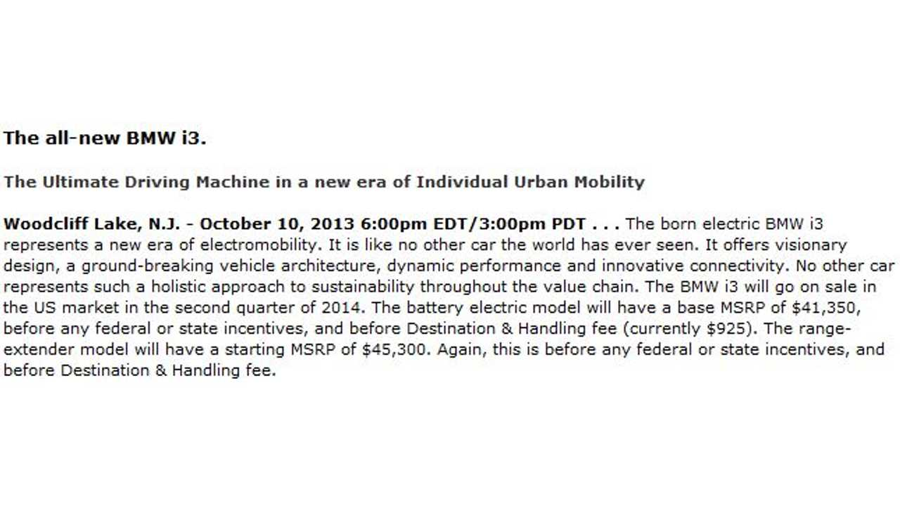 Screen Grab of BMW Press Release With Typo - Click to Enlarge