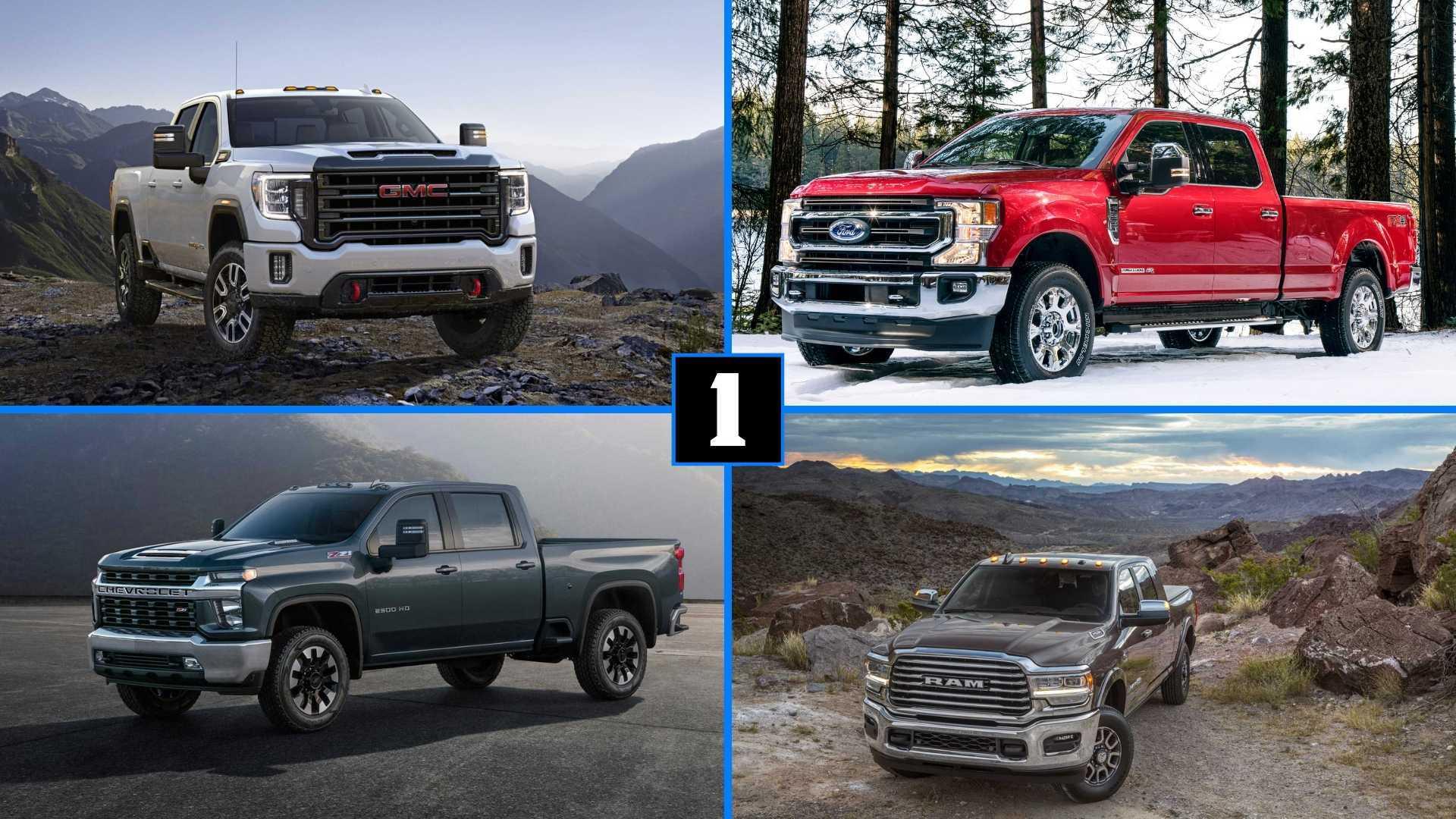 Heavy Duty Pickup Truck Comparison Super Duty Vs Ram Vs Silverado