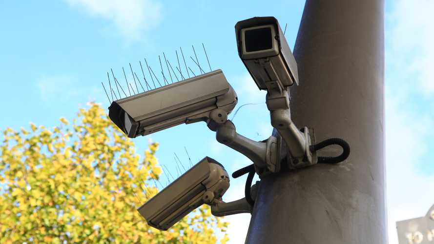 Security cameras around train station in London England