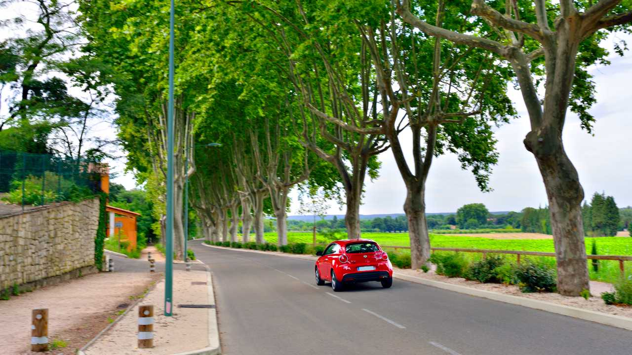 Car driving in the countryside of Provence France