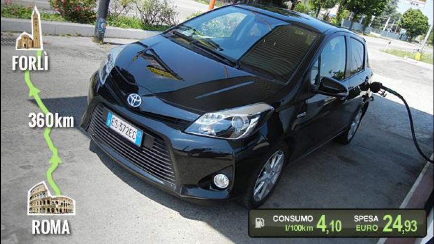 """Toyota Yaris Hybrid, la prova dei consumi """"reali"""""""