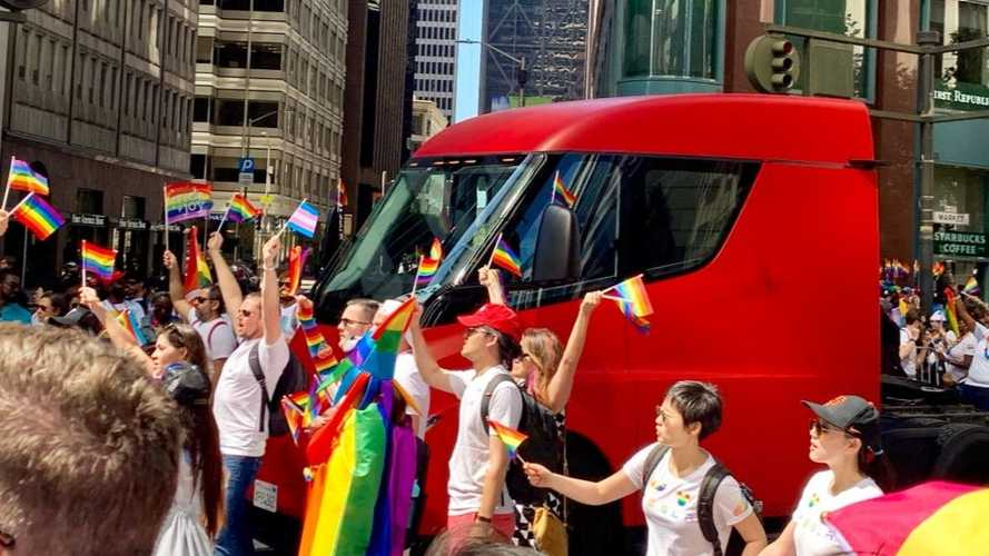 Tesla Semi Guides Model 3, S, X, & Tesla Employees In SF Pride Parade