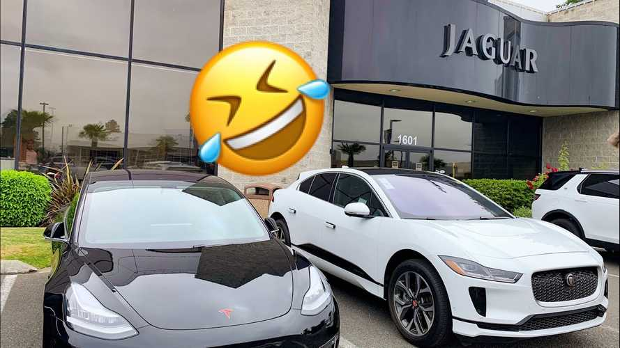 Sentry Mode Captures Jaguar Salesmen Checking Out Tesla Model 3