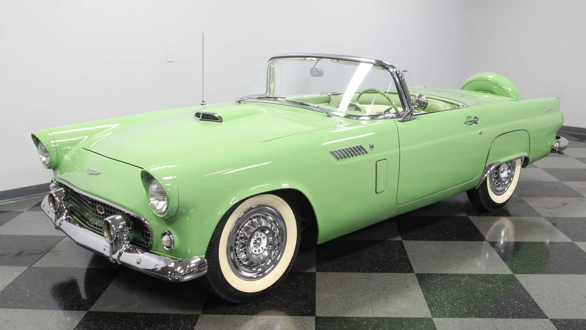 "[""1956 Ford Thunderbird Looks Striking In Rare Sage Green Paint""]"