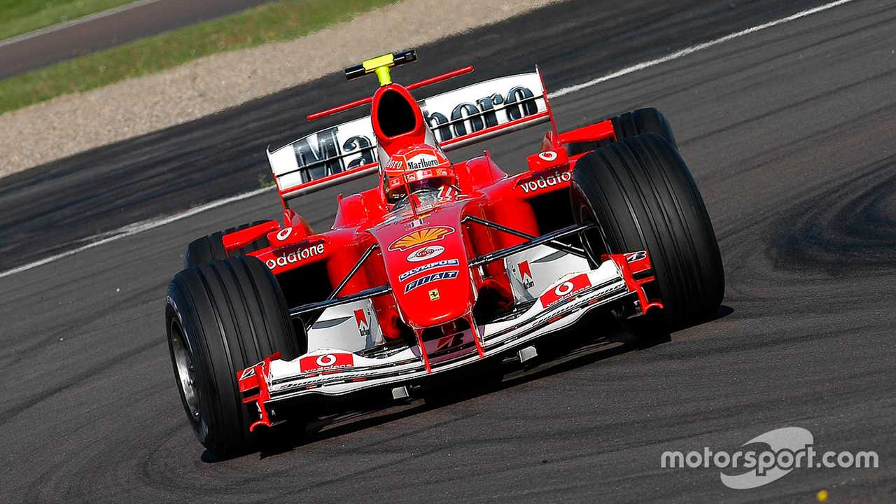 Valentino Rossi driving Ferrari F2004 during secret test in 2004