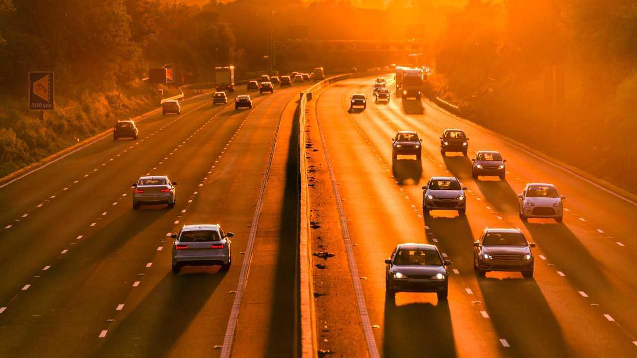 Sunset on UK motorway traffic in England