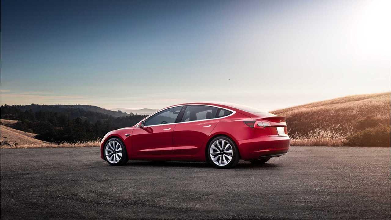 Tesla Model 3 sunset red