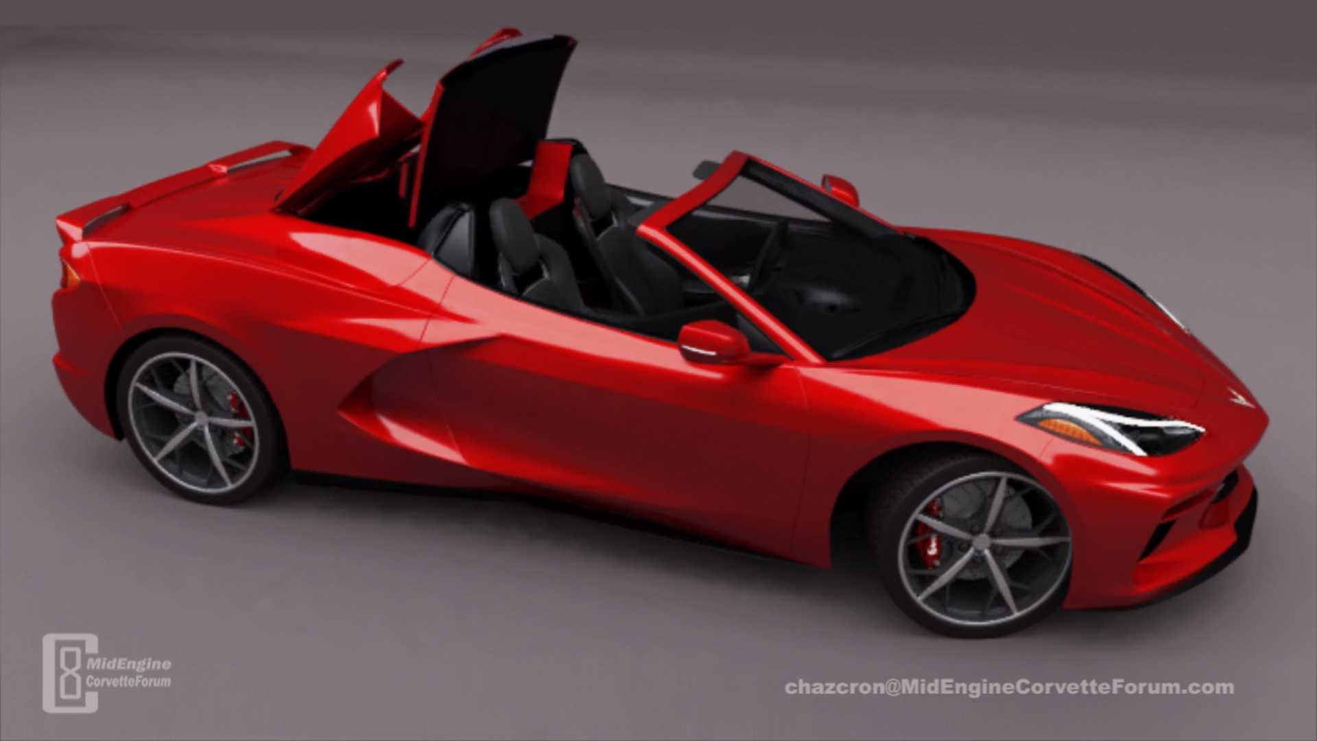 Mid Engined Corvette Convertible Rendered With Folding