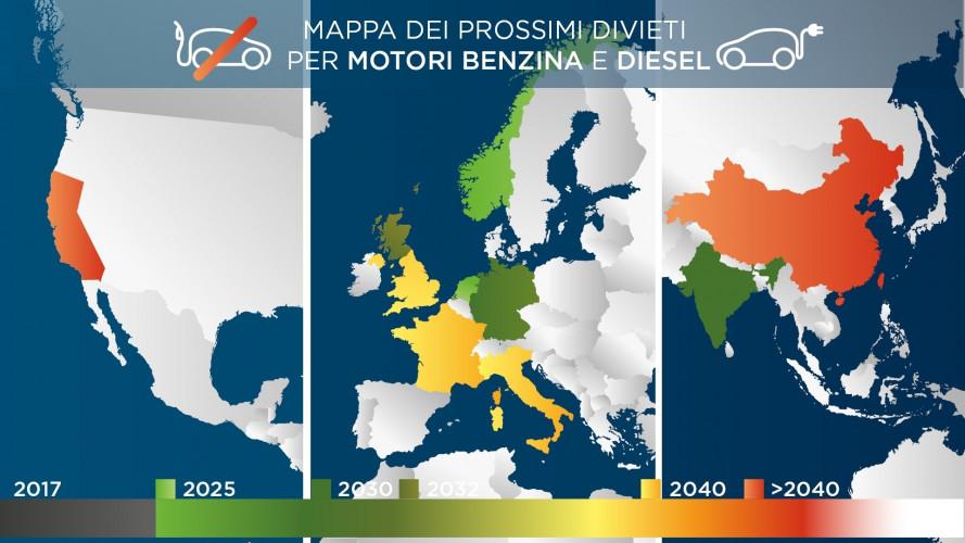 Auto a benzina e Diesel, i divieti Paese per Paese
