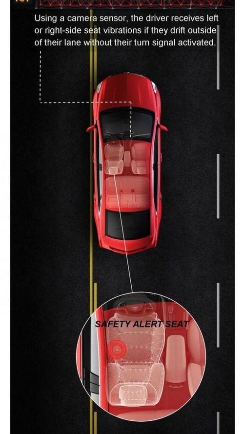Cadillac XTS safety alert seat vibrates your bum