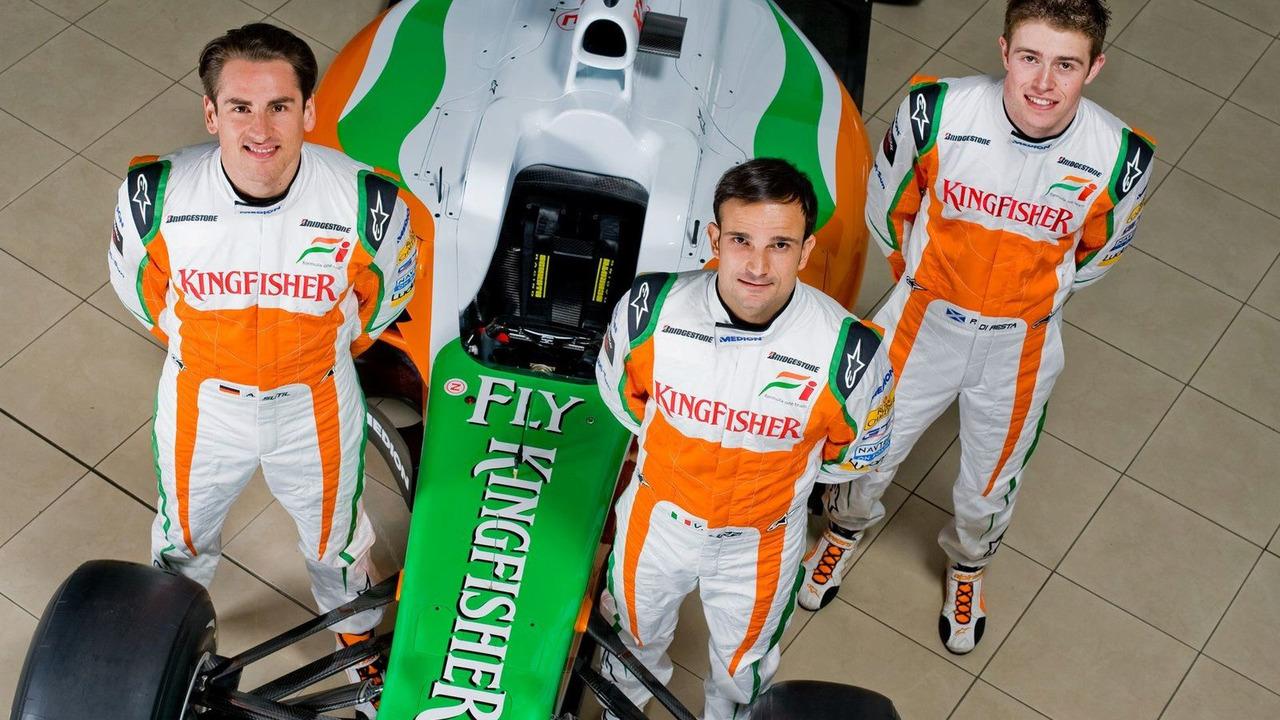 Adrian Sutil (GER), Vitantonio Liuzzi (ITA), Paul Di Resta (GBR), Force India VJM03, Silverstone, England, 08.02.2010