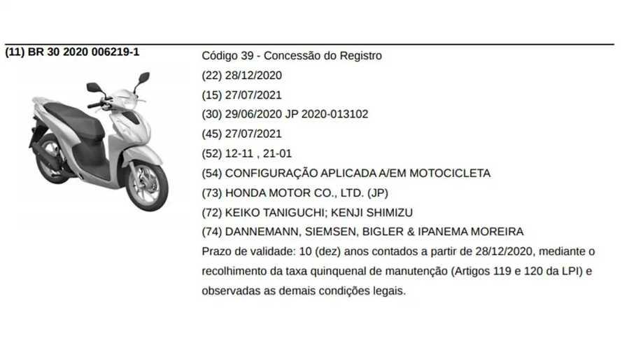 Honda Vision 110 - Registro no Brasil