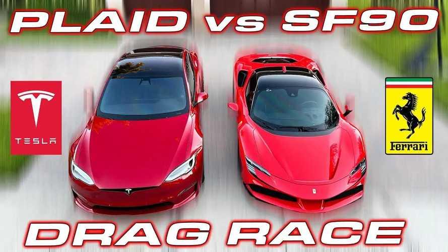 Ferrari SF90 Stradale Unleashed Against Tesla Model S Plaid