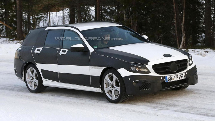 2015 Mercedes C-Class Estate spied wearing less camouflage