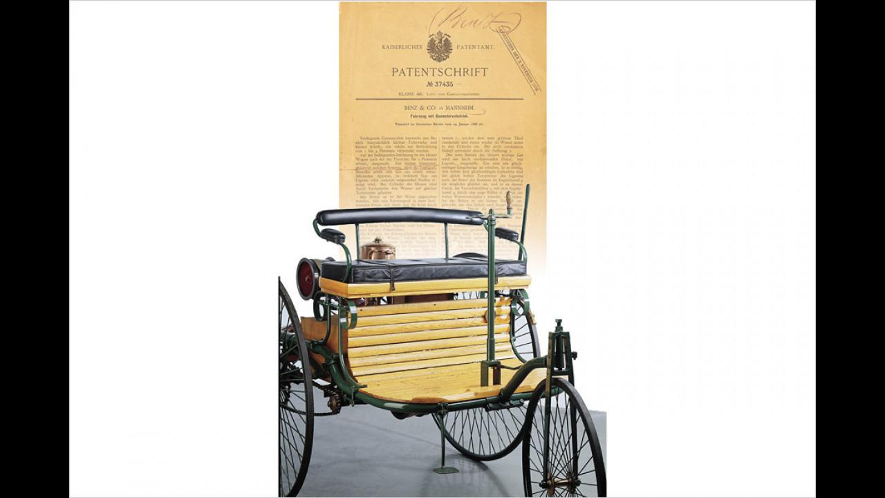 Benz Patent-Motorwagen (1886) und Patenturkunde