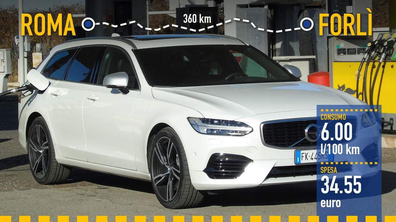 [Copertina] - Volvo V90 T8, la prova dei consumi reali