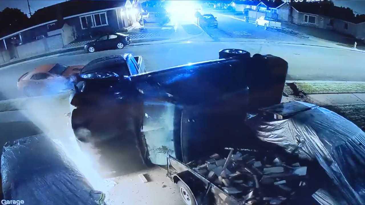 Truck Hits Mustangs