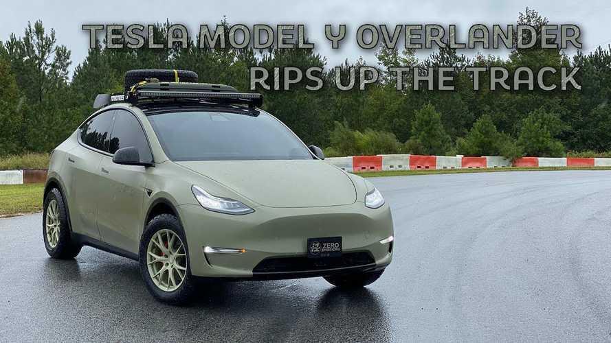 Custom Overland Tesla Model Y Performance Lurches Through One Lap