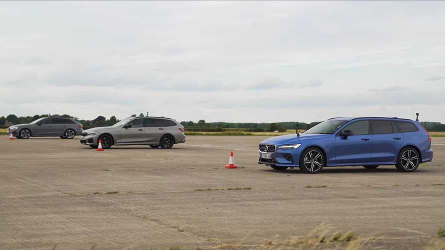 BMW M340i, Audi S4, and Volvo V60 T8 duel in estate drag race