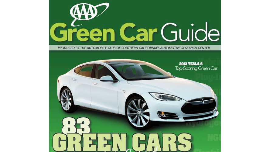 2014 AAA Green Car Guide Lists Tesla Model S #1