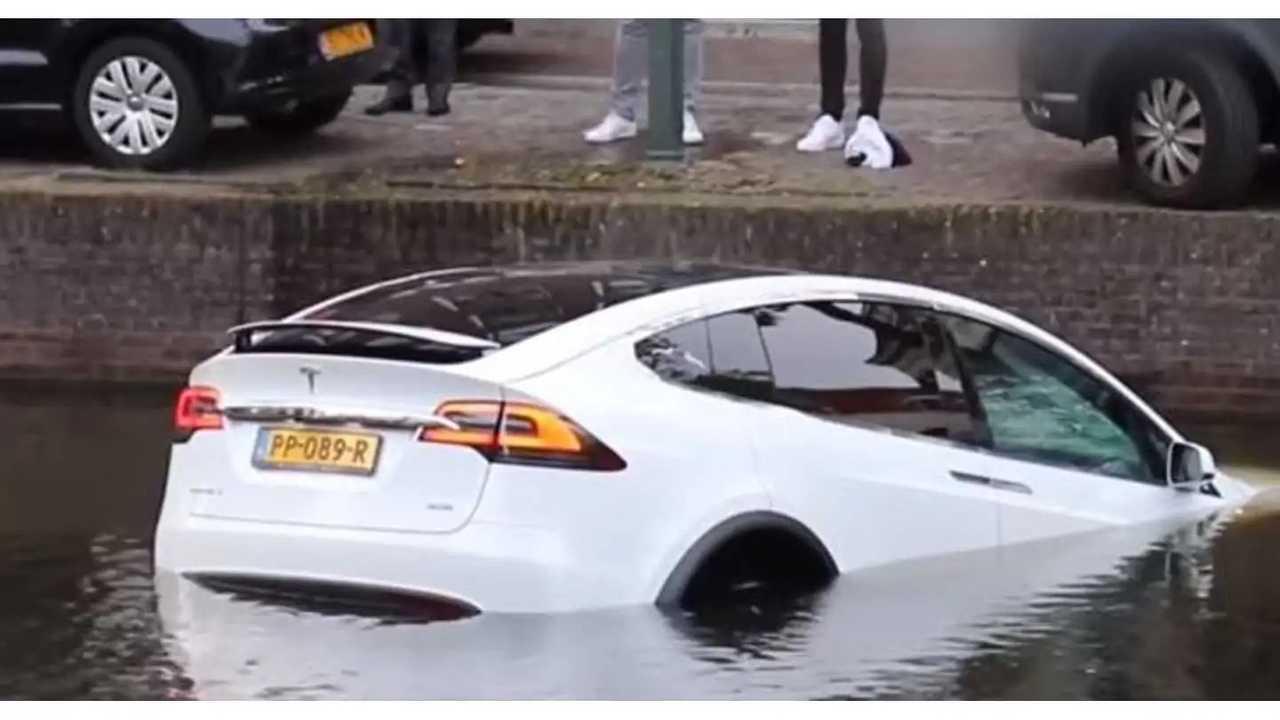 Tesla Model X floating