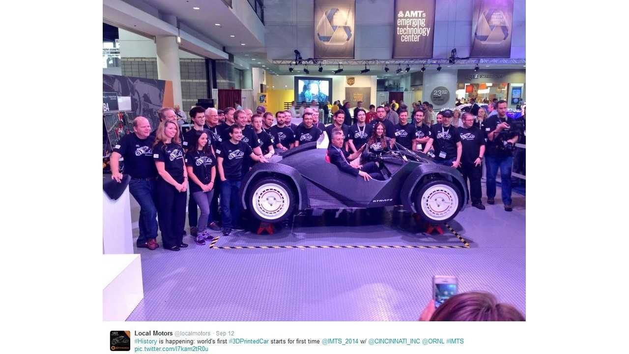 Local Motors Makes History As 3D Printed Strati Electric Vehicle Takes First Test Drive (w/videos)