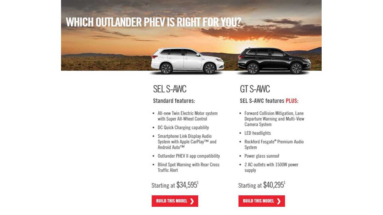 2018 Outlander Phev Now Listed On Mitsubishi S U S Site Build