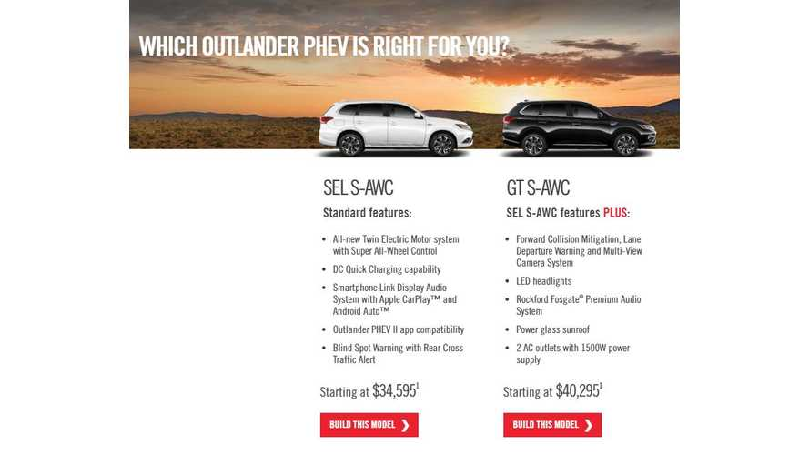 2018 Outlander PHEV Now Listed On Mitsubishi's U.S. Site - Build Your Own