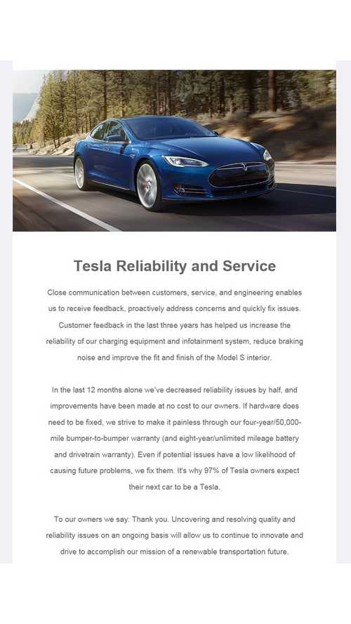 Tesla Issues Email Claiming Model S Reliability Has Improved Significantly In Past 12 Months